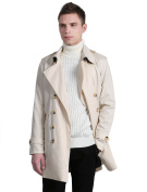 Unique Bargains Men's Double Breasted Split Lapel Belted Trench Coat Ivory