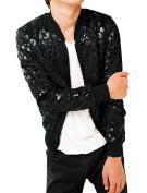 Unique Bargains Men's Zip Up Stand Collar Leopard Casual Plush Jacket Black