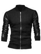 Unique Bargains Men's Slim Cut Long Sleeves Zip Fly Ribbed Cuffs Splice Jacket Black
