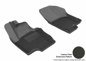 3D MAXpider 2011-2017 VW Jetta Sedan Front Row All Weather Floor Liners in Black with Carbon Fibre Look