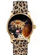 OUO Special Design of Leopard Pattern Genuine Leather Analogue Quartz Wristwatch Panther Watch Band