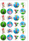 24 Precut Super Mario Bros Edible Wafer Paper Cake Toppers