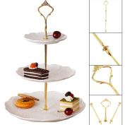 Allright 3Tier Cake Cupcake Plate Stand Crown Handle Fitting Rod Rack Wedding Party Gold