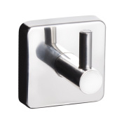 Kapitan Quattro Bathroom Single Robe and Towel Hook, Square Style, 3M Self Adhesive Wall Mounted, Stainless Steel AISI 304 18/10, Polished Finish, Made in EU, 20 Years Warranty