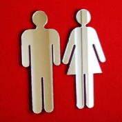 Male and Female Mirrored Toilet Door Sign Set - 12 x 5 cm each