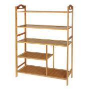 Shoe Rack, Hapilife 5 Tier Bamboo Shoe Rack Storage Organiser Entryway Shoe Shelf 80 x 25.5 x 88cm Made of 100% Natural Bamboo