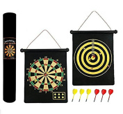Cucuba® MAGNETIC DARTBOARD ROLL UP WITH 6 MAGNETIC DARTS DOUBLE SIDED IDEAL FOR LOCALS AND PUB- GIFT IDEA