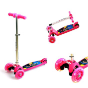 3 wheel Kick Scooter for Kids, Adjustable Height T-Bar Tilt Kick Board Tri-Scooter Toddler Kickboard with 2 LED Light Up Flashing Front Wheels for Children 2-5 Years Old