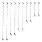 Naler 10pcs Stainless Steel Necklace Bracelet Extender Chain Jewellery - 5 Sizes in Silver