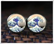 Japanese Art cufflinks, Japan The Great Wave, Hokusai Japanese Wave cufflinks