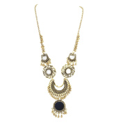 Zephyrr Fashion German Silver Beaded Long Pendant Mirror Statement Necklace For Girls and Women