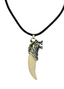 Tibetan Silver Wolf Tooth Pendant Necklace