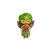 Butler and Wilson Green Angel with Heart Crystal Pin