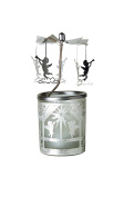 """Kerzenfarm """"Angels"""" Rotary Carousel for Tealights, Metal and Glass, Silver, 16.5 cm High"""