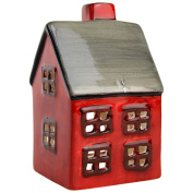 Red Ceramic Christmas Tealight Candle Holders - Church or House