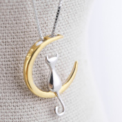 Elistelle Gold Mood Fashion Fine 925 Silver Cats Moon Pendant Necklace Romantic Charm Alloy Chain Necklaces Cute Women Jewellery Gifts Accessories