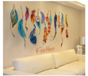 Bluestercool Wall Stickers,Classic Creative Dream Catcher Feather Wall Stickers Art Decal Mural