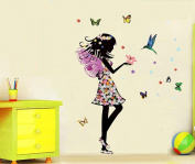 Ouneed Removable Angel Wings Beautiful Girl Flowers Butterfly DIY Wall Stickers