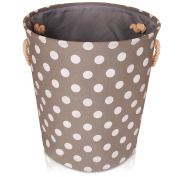 Grey Spot Canvas Storage Basket – Large High Quality Fabric Basket with White spots – Perfect for Household Storage, Toys or Laundry. 40cms Diameter x 45cm Height
