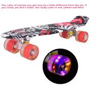 GYMAX 60cm Skateboard LED Light Up PU Wheel Complete Cruiser Retro Deck
