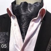 VANKER Gentleman Style Floral Silk Cravat Neck Tie Ascot Necktie for Men