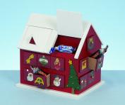 WOODEN CHRISTMAS FESTIVE HOUSE XMAS ADVENT CALENDAR 20CM TALL