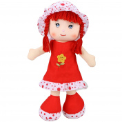 (UK STOCK)Smibie 50cm Sleeping Comfort Grils Doll Soft Plush Toy For Baby Toddlers Red