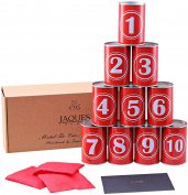 Premium Tin Can Alley Game - Real Metal Full Size Tin Cans- Includes Weatherproof Bean Bags - Jaques of London - Since 1795