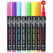 Stationery Island Chalk Pens D30 3mm Fine Bullet Nib - Dry Wipe Erase Chalk Markers Pack of 8 Colours