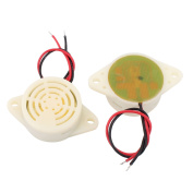 2 Pcs DC 3-24V 12V 2-Wired Continuous Active Electronic Buzzer Alarm Off-White