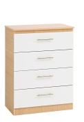 Ideal Furniture 4 Drawer Jumbo Chest, Wood, Oak Carcass/White Front