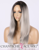 Chantiche Glueless Ombre Silver Grey Wig Long Straight Halloween Synthetic Wigs for Women Heat Resistant Full Wig Machine Made 41cm