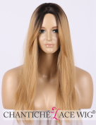 Chantiche Black Root Honey Blonde Ombre Wigs UK for Girls Long Straight Hair Synthetic Wig Heat Resistant Cosplay Cheap Wig Machine Made 41cm
