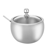 High-end Durable Stainless Steel Sugar Bowl with Lid and Sugar Spoon Versatile Seasoning Container For Kitchen