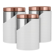 Tower Canisters, Set of 3, White and Rose Gold