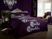 Gaveno Cavailia Poly Cotton Modern Printed Sparkle Duvet Set with Cover And Pillow Case, Aubergine, Double