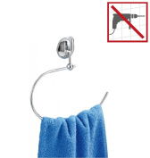 ducomi® Suction Towel Holder Ring Chrome Bath – Easy Fixing without Drill – 23.5 x 3 x 25 cm