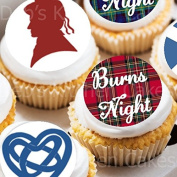 Burns Night Cake Toppers - Robbie Burns Cupcake Decorations - Edible Wafer - 4cm x 24