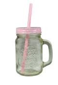 Jocca Mason Jar Mug with Straw, Transparent/Pink, 430 ml