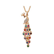 Women Multi-colour Long Peacock Rhinestone Wedding Sweater Necklace