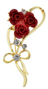 Jodie Rose Gold Plated Crystal Rose Brooch