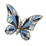 Brooch Butterfly blue Enamel hand painted