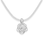 """Sterling Silver flower Pendant on 16"""" silver chain - size"""