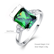 Bonlavie Women's 5.3ct Square Cut Created Green Emerald 925 Sterling Silver Engagement Ring