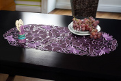 """Embroidered Table Runners Tablecloths 40 x 90cm (16"""" x 35.5"""") Purple / Oval / Floral Pattern / Home Kitchen Dining Room Table Decoration"""