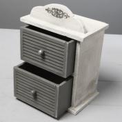 SHABBY CHIC TWO DRAW TRINKET/CHEST BOX