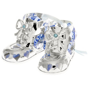 Silver Plated Crystal Studded Baby Boy Booties Ornament by Matashi
