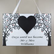 PERSONALISED Mr and Mrs Wedding Countdown Chalkboard Heart Handmade Wooden Home Sign/Plaque - Engagement Gift 641
