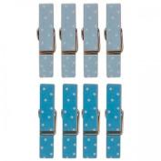 8 mini magnetic clothespins 3.5 cm - blue