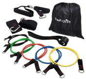 TheFitLife Exercise and Resistance Bands Set - Stackable up to 50kg Workout Tubes for Indoor and Outdoor Sports, Fitness, Suspension, Speed Strength, Baseball Softball Training, Home Gym, Yoga
